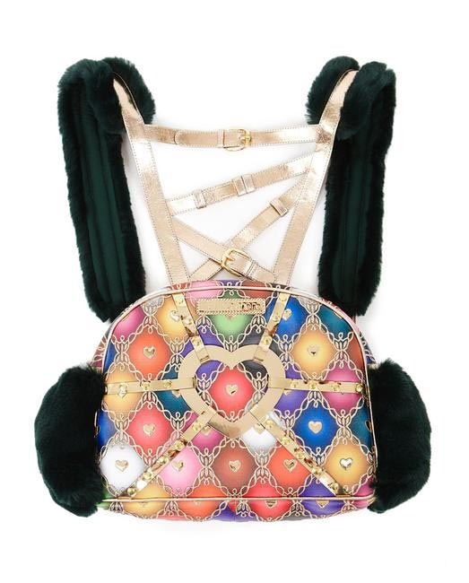 Manish Arora Paris AW 15 Faux Fur and Leather Harlequin Print Backpack on Exclusively.com, Rs. 66000