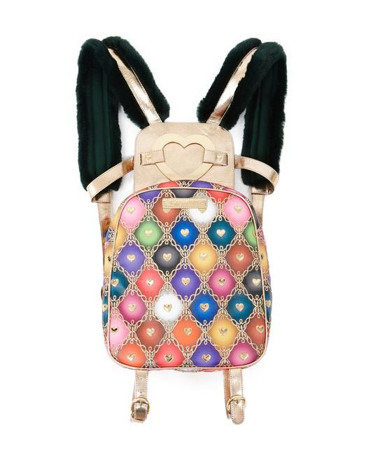Manish Arora Paris AW 15 Faux Fur and Leather Harlequin Print Backpack (Style 2) on Exclusively.com, Rs. 66000