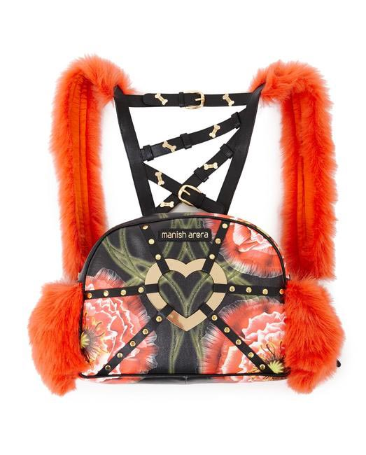 Manish Arora Paris AW 15 Faux Fur and Leather Poppy Print Backpack on Exclusively.com, Rs. 40150