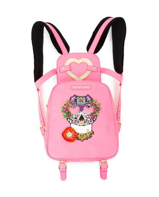 Manish Arora Paris AW 15 Faux Fur and Leather Skull Embroidered Backpack (Pink) on Exclusively.com, Rs. 53350