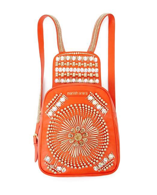 Manish Arora Paris AW 15  Leather Armor Embroidered Backpack on Exclusively.com, Rs. 80300