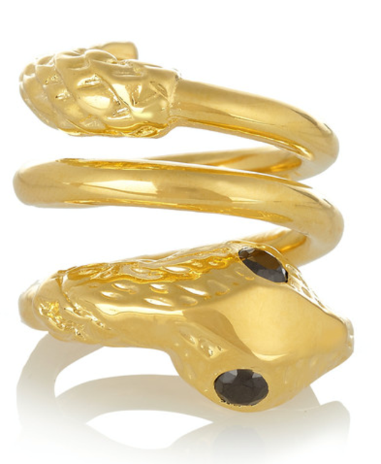 Twisted snake gold-plated cubic zirconia ring, Jennifer Fisher, INR 21,065 (approx)
