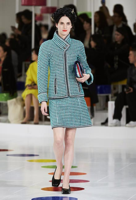 Classic Chanel separates in a fun green