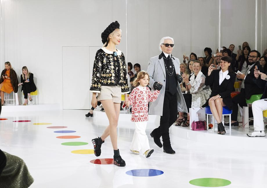 Karl Lagerfeld at the Chanel cruise show