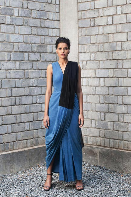 Bihar Khadi Indigo dress designed by Rashmi Varma, Delhi, SS15