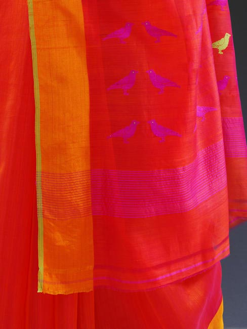 Sari with crow motif (detail), designed by Sanjay Garg for Raw Mango, 2010