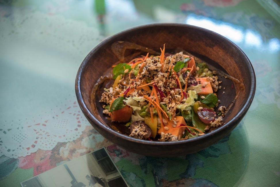 Grilled Peach and Papaya with Amaranth Granola Salad