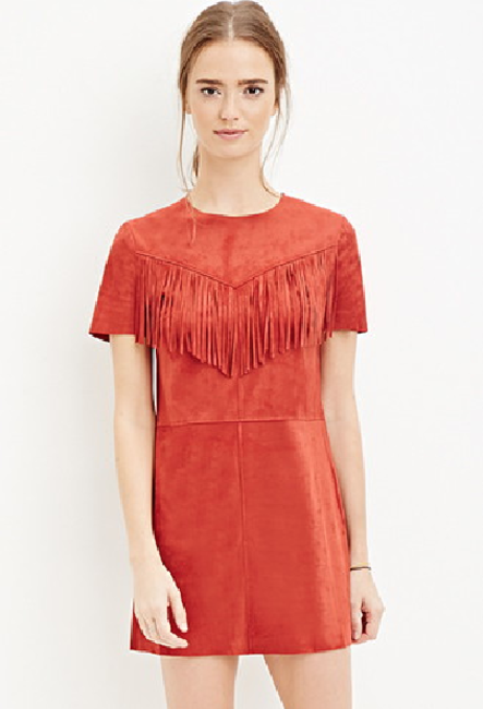 Cancer - Forever21 India Fringed Faux Suede Dress
