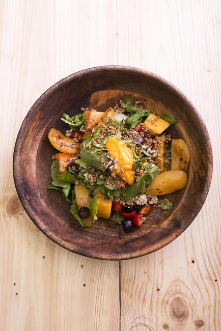 Grilled Peach & Papaya Salad with Amaranath Granola