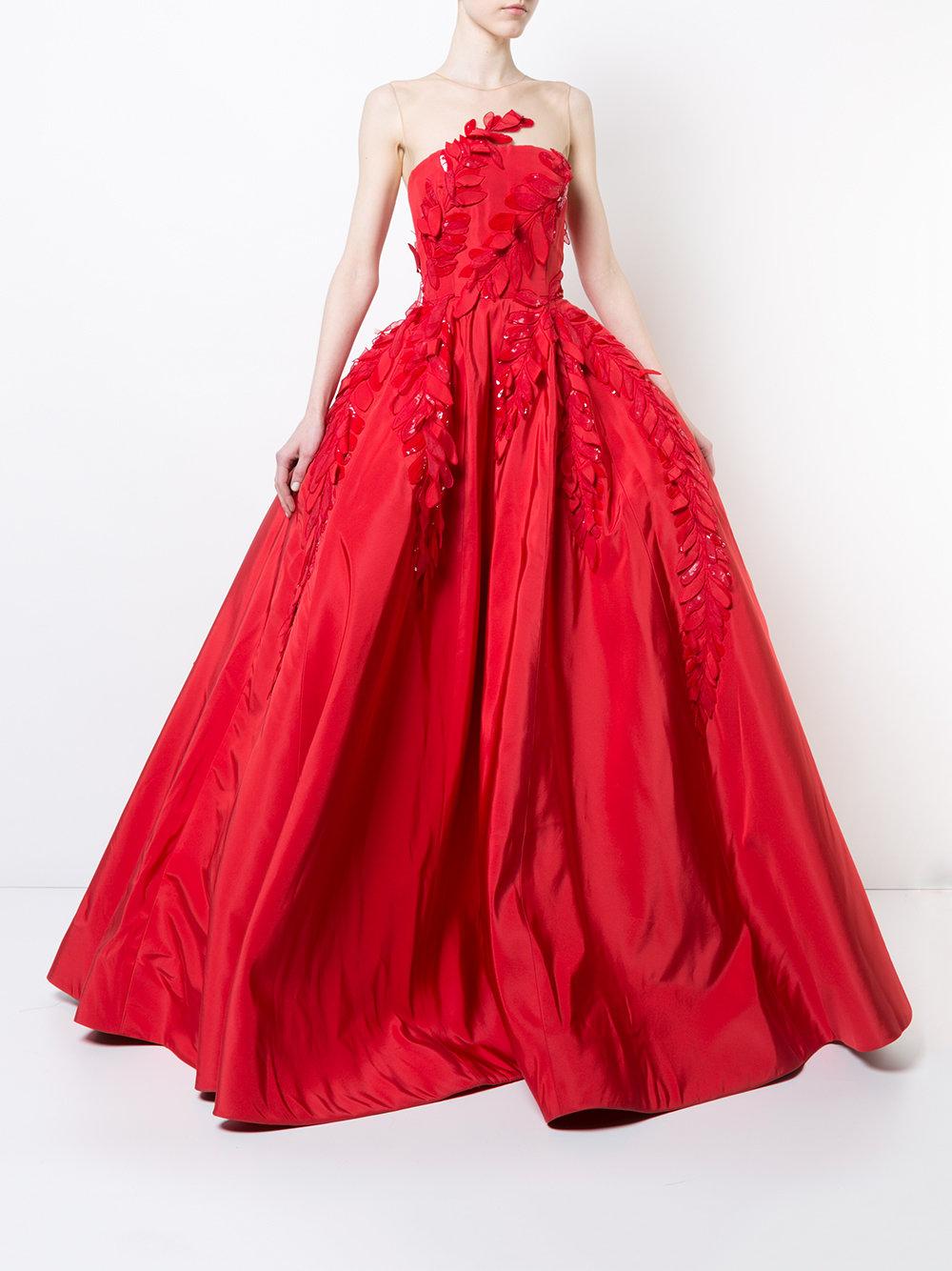 Oscar de la Renta Appliqué Detail Gown