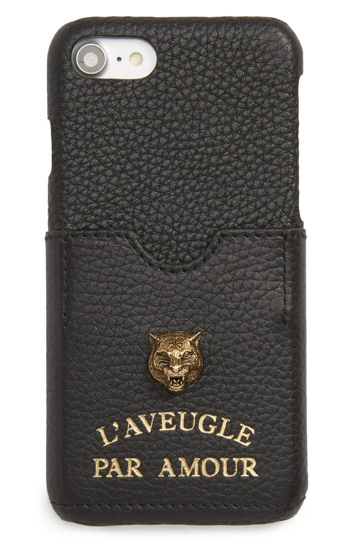 Tiger L'Aveugle Par Amour Leather iPhone 7 Case GUCCI