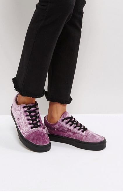 Vans Old Skool Trainers In Purple Velvet