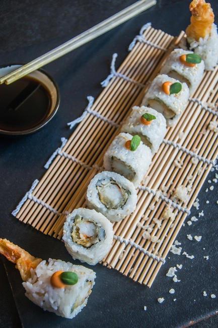 Dynamite Shrimp with shrimp tempura centre and sriracha mayo