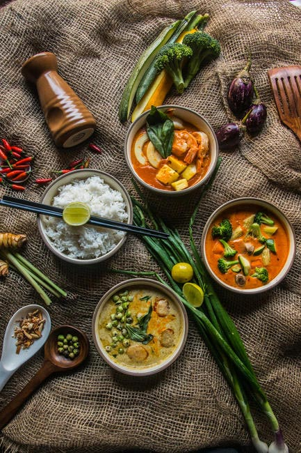 Thai Green Curry, Massaman Curry, Thai Red Curry and Nyonya Laksa