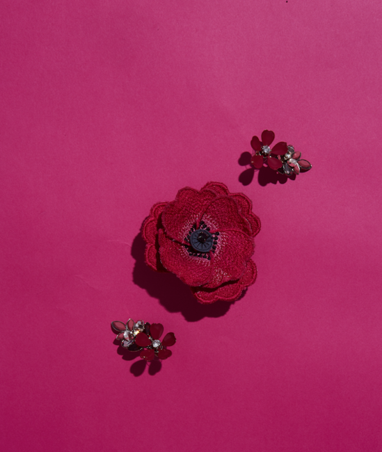 Flower brooch, lacquered earrings, both Accessorize, Rs. 1,145 and Rs. 1,545 respectively