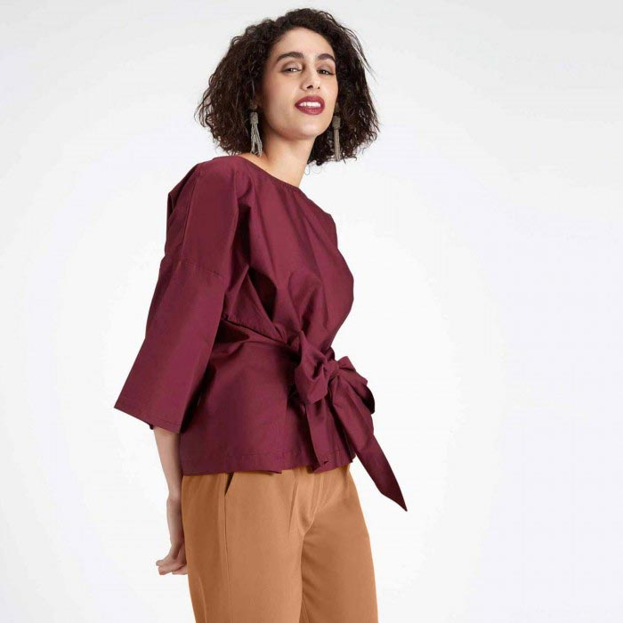 BURGUNDY SELF TIE TOP