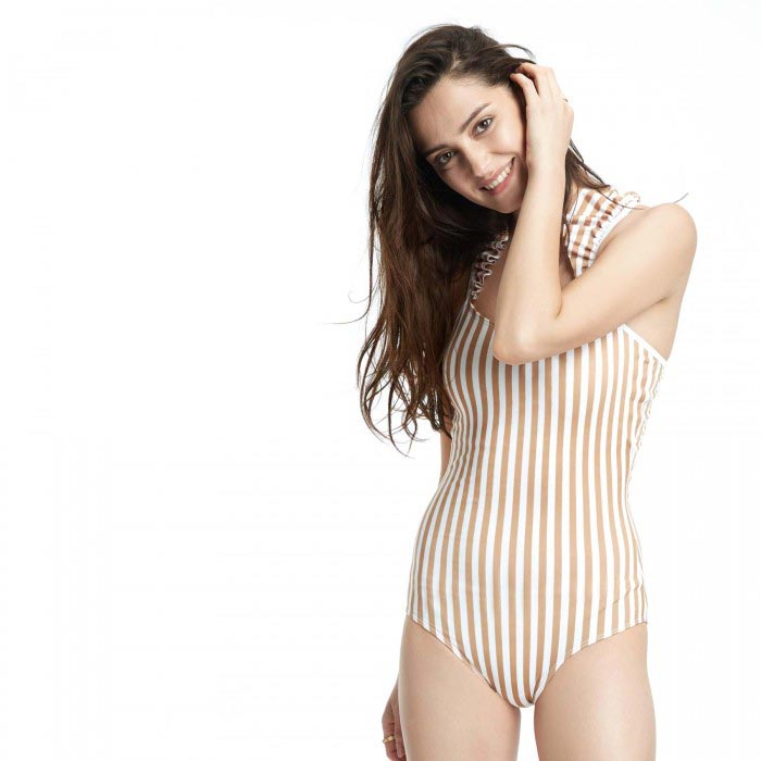 KHAKI STRIPED RUFFLE SWIMSUIT
