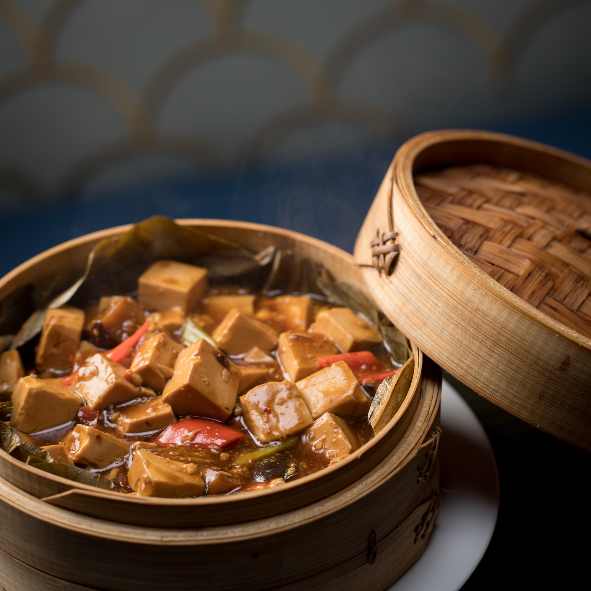 Steam Tofu With Vegetable In Lotus Leaf