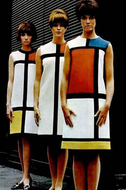 A collection inspired by artist Piet Mondrian, created by YSL in 1965