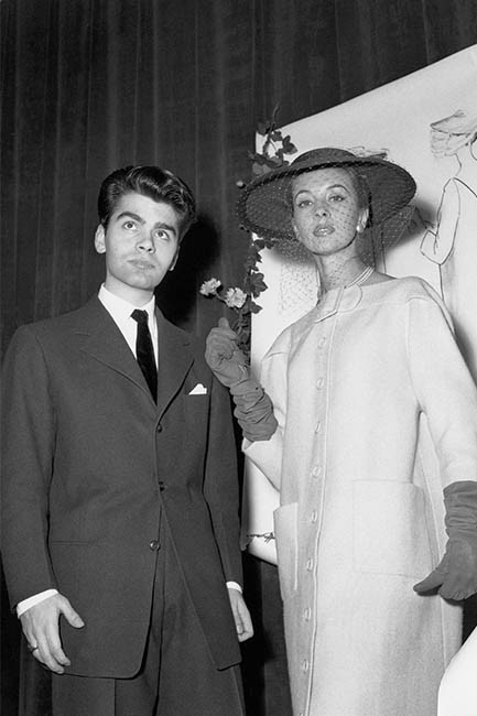 Karl Lagerfeld wins prize for a coat competition organised by the International Wool Association in Paris, 1954