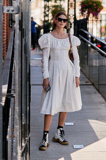 A cotton poplin dress with an exaggerated sleeve perfectly epitomises this trend off the runway, on the streets of London
