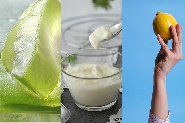 Homemade Face Mask Yogurt-Aloe Vera-Lemon Juice Pack