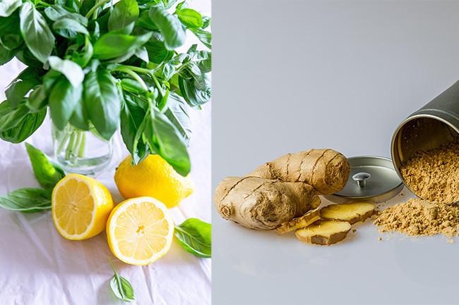 Detox Drink Lemon Ginger And Basil Iced Tea