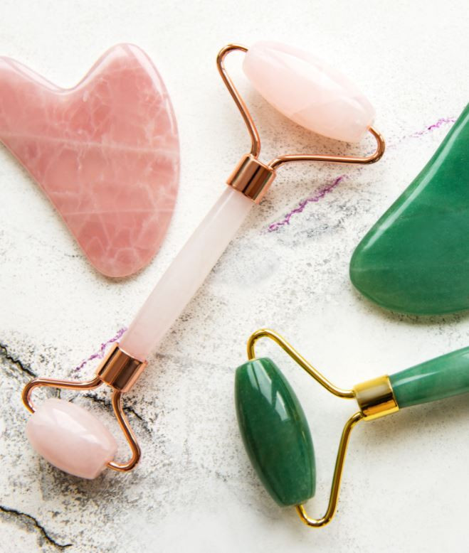 Double Chin Exercises Massaging With Jade Roller or Gua Sha
