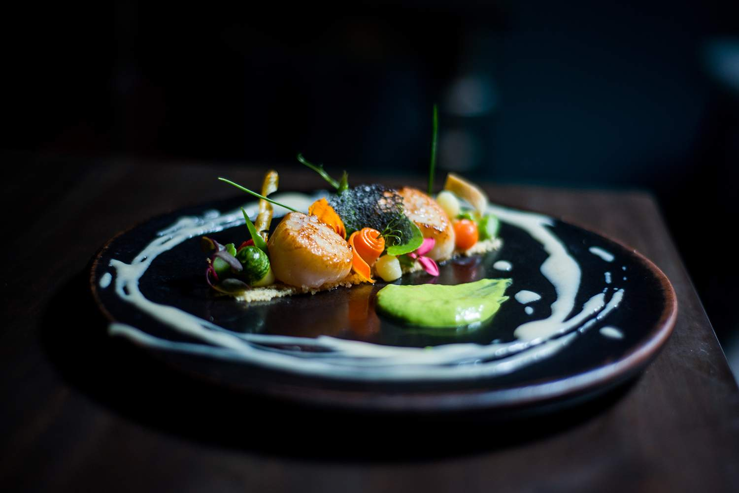 Whisky-Flamed Scallops
