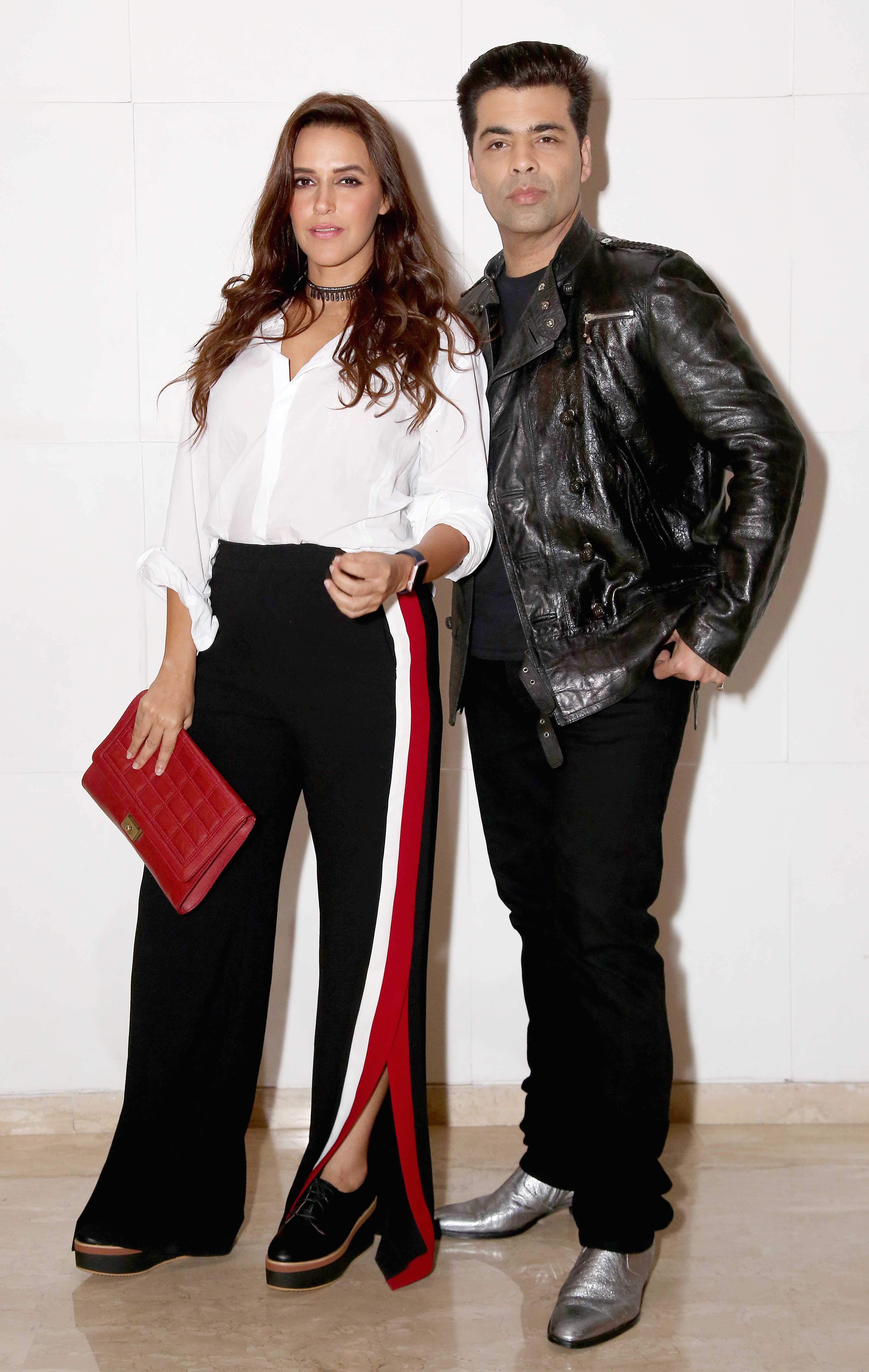 Neha Dhupia and Karan Johar